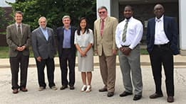 US Department of State sponsors Michael Foughty and Demetrius Davis visit the lab on July 13th and 14th for the 2016 Annual Program Review. Pictured above (left to right): Tanju Sofu (Dept. Manager), Thomas Ewing (Associate Division Director), Jordi Roglans-Ribas (Division Director), Sunaree Hamilton (Office Director), Michael Foughty (DOS Sponsor), Demetrius Davis (DOS Sponsor) and Temitope Taiwo (Deputy Division Director)